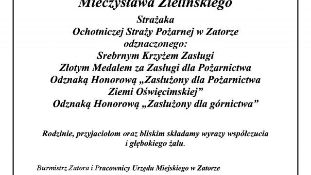 Z głębokim żalem przyjęliśmy wiadomość o śmierci Ś.P. Mieczysława Zielińskiego