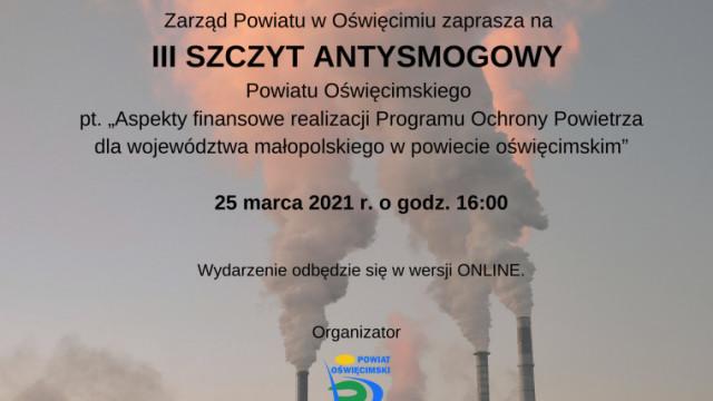 Zapraszamy na III Szczyt Antysmogowy Powiatu Oświęcimskiego