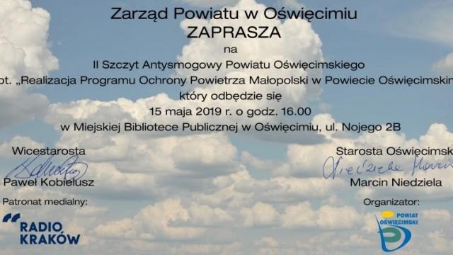 Zaproszenie. II Szczyt Antysmogowy Powiatu Oświęcimskiego
