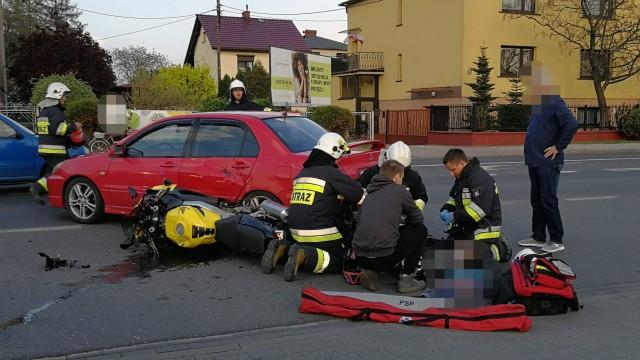 Zdarzenie na DK52 w Kętach. Ranny motocyklista – ZDJĘCIA!