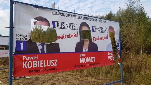 Zdewastowane banery wyborcze, czyli nieuczciwa kampania – FOTO