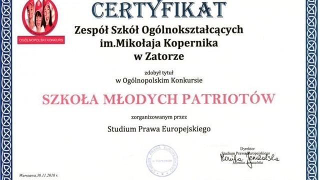 """ZSO w Zatorze z certyfikatem """"Szkoła Młodych Patriotów"""""""