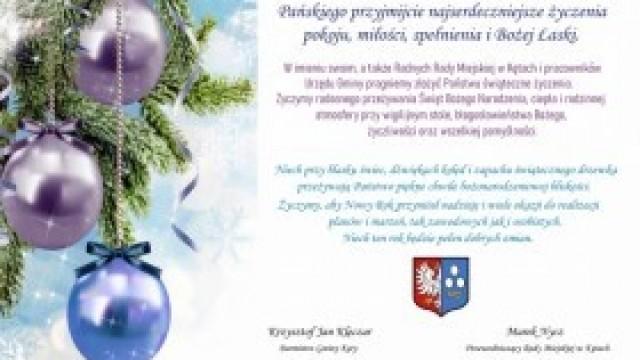 Życzenia Burmistrza Gminy Kęty i Przewodniczącego Rady Miejskiej w Kętach