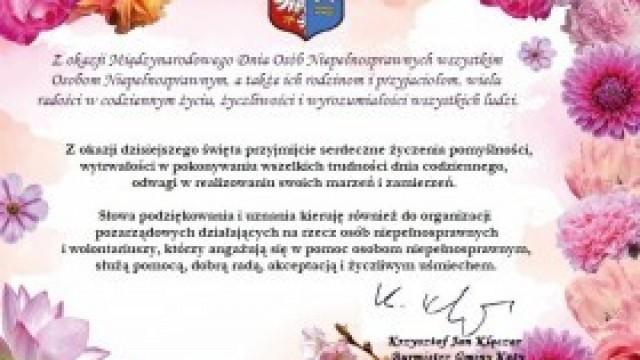 Życzenia Burmistrza Gminy Kęty z okazji Międzynarodowego Dnia Osób Niepełnosprawnych