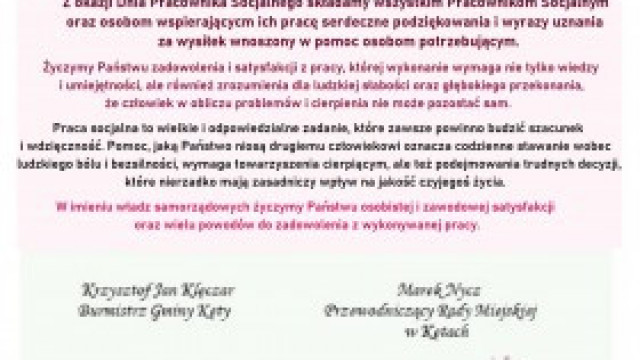 Życzenia Burmistrza Gminy Kęty z okazji Dnia Pracownika Socjalnego